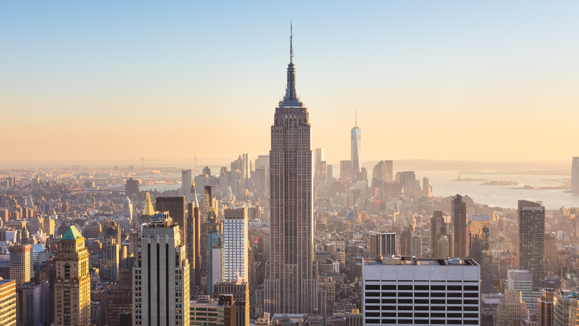 building hd wallpapers 1080p: 1920x1080 New York City Buildings At Day Sunlight Laptop