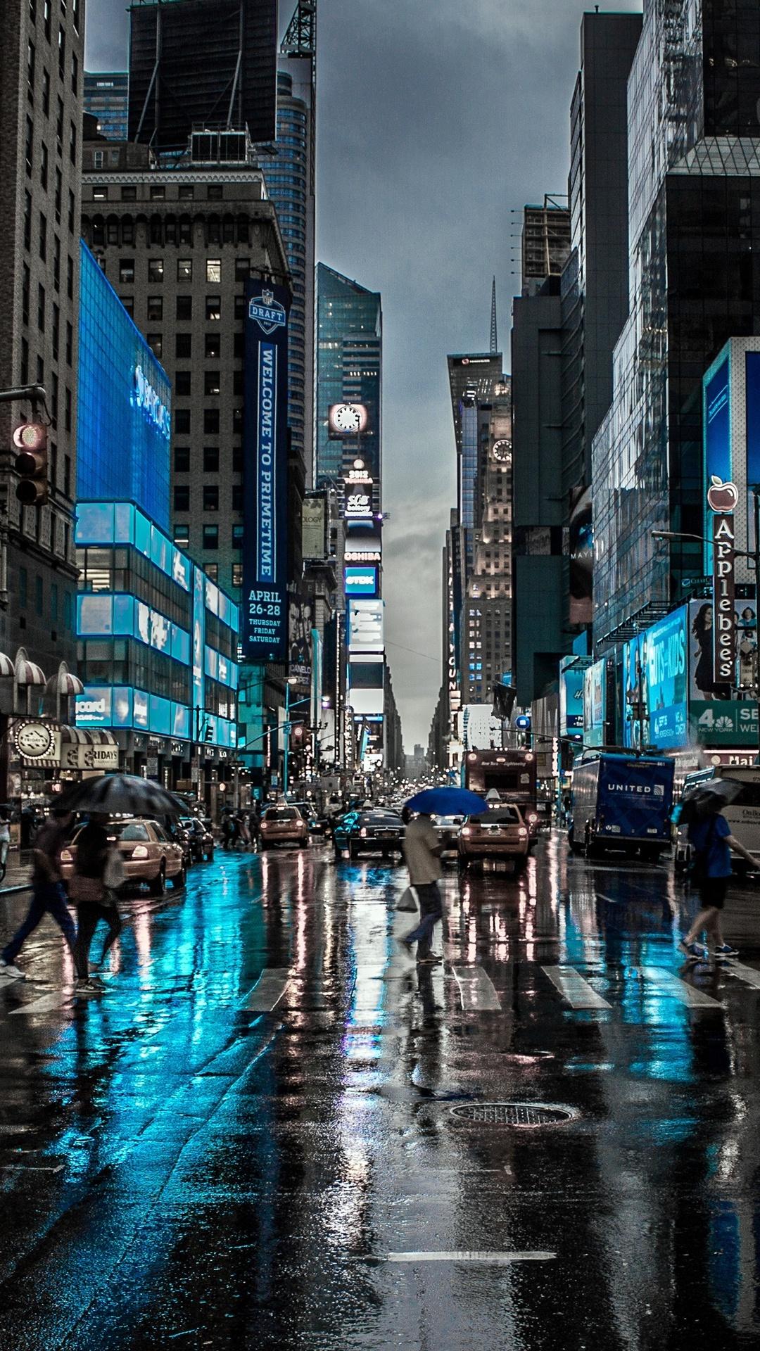 1080x1920 New York City Street Reflection Motion Blur Dark ...