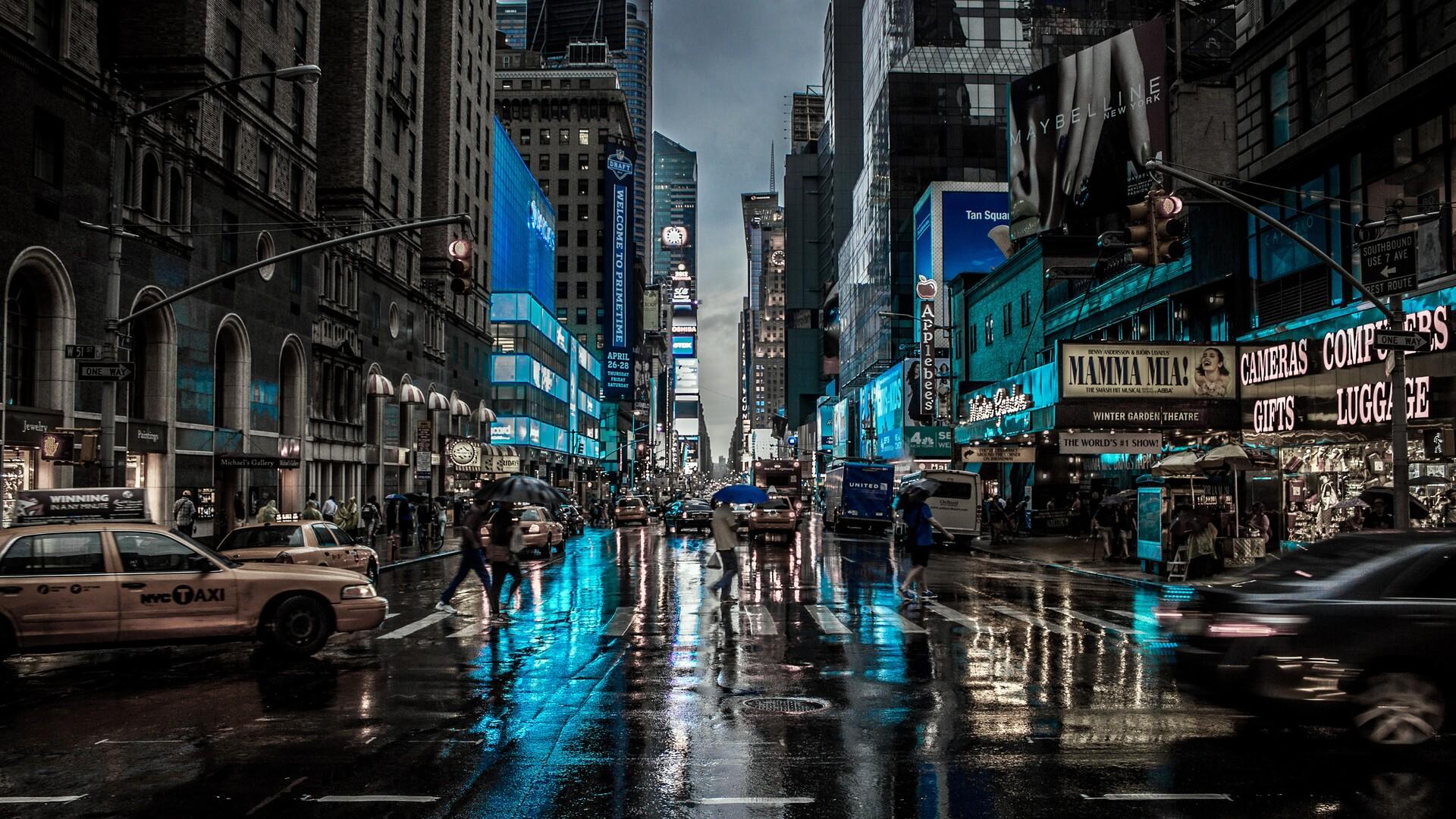 1920x1080 New York City Street Reflection Motion Blur Dark