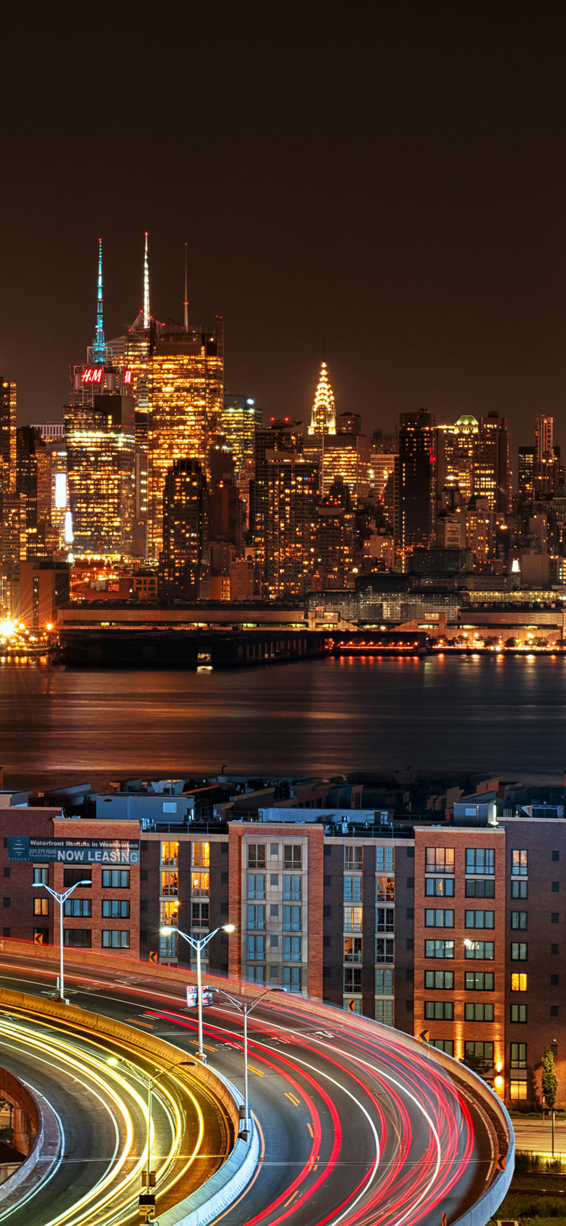 1125x2436 New York City View From New Jersey 4k At Night