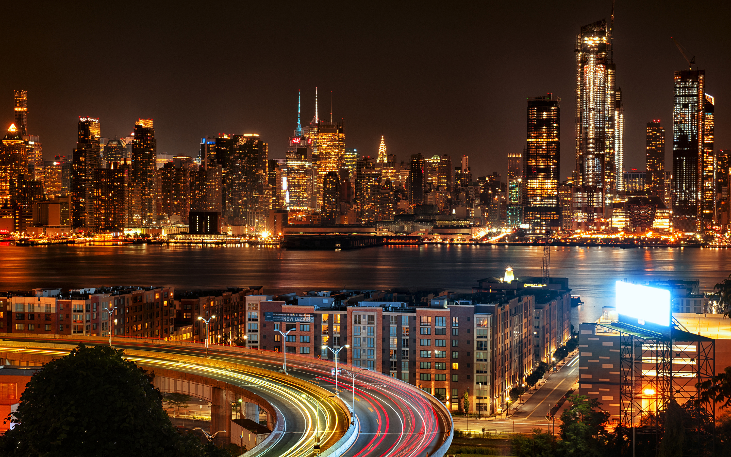 new york city view from new jersey 4k at night uo