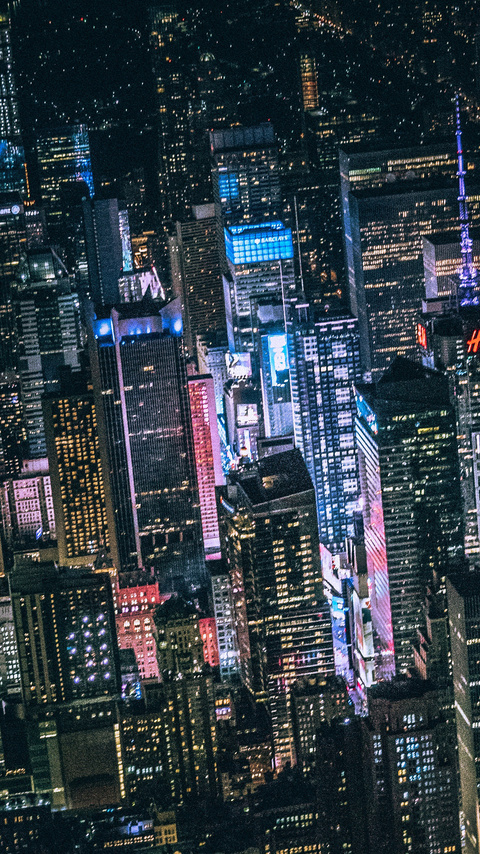 480x854 New York Dark City Night Lights Buildings View From Top 5k Android One Hd 4k Wallpapers Images Backgrounds Photos And Pictures