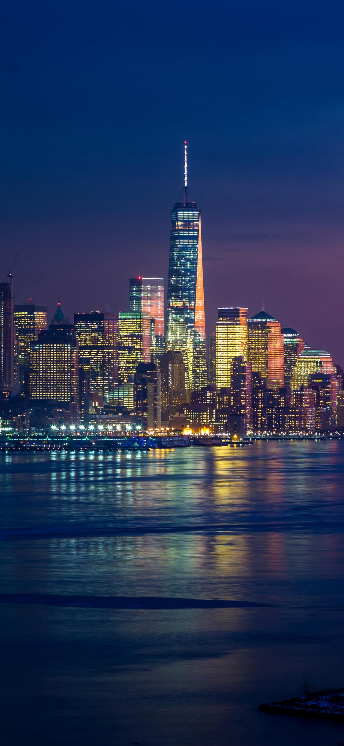 1125x2436 New York Skycrapper 4k Buildings Lights Iphone Xs Iphone