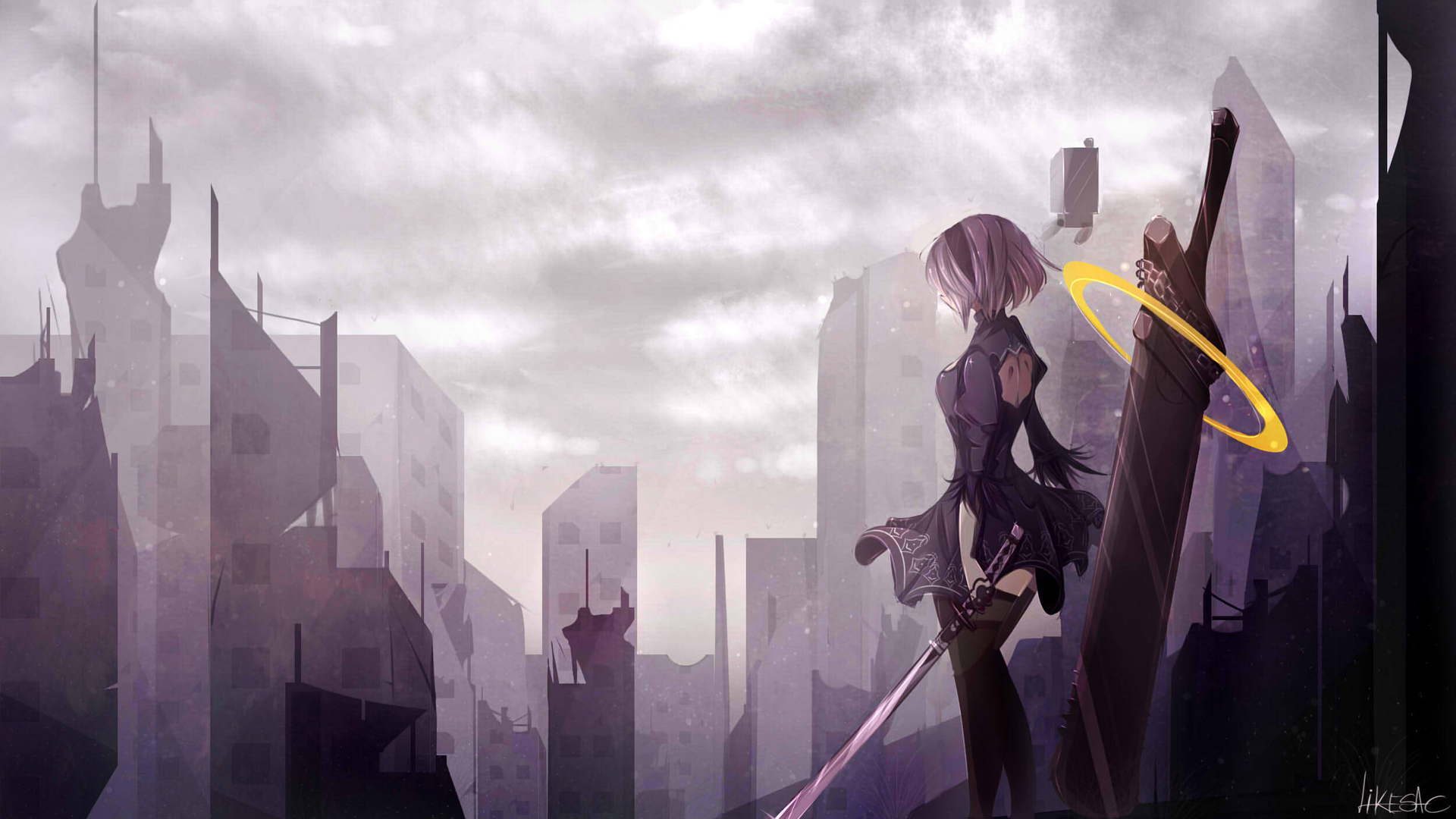 1920x1080 Nier Automata Anime Art Laptop Full Hd 1080p Hd 4k Wallpapers Images Backgrounds Photos And Pictures