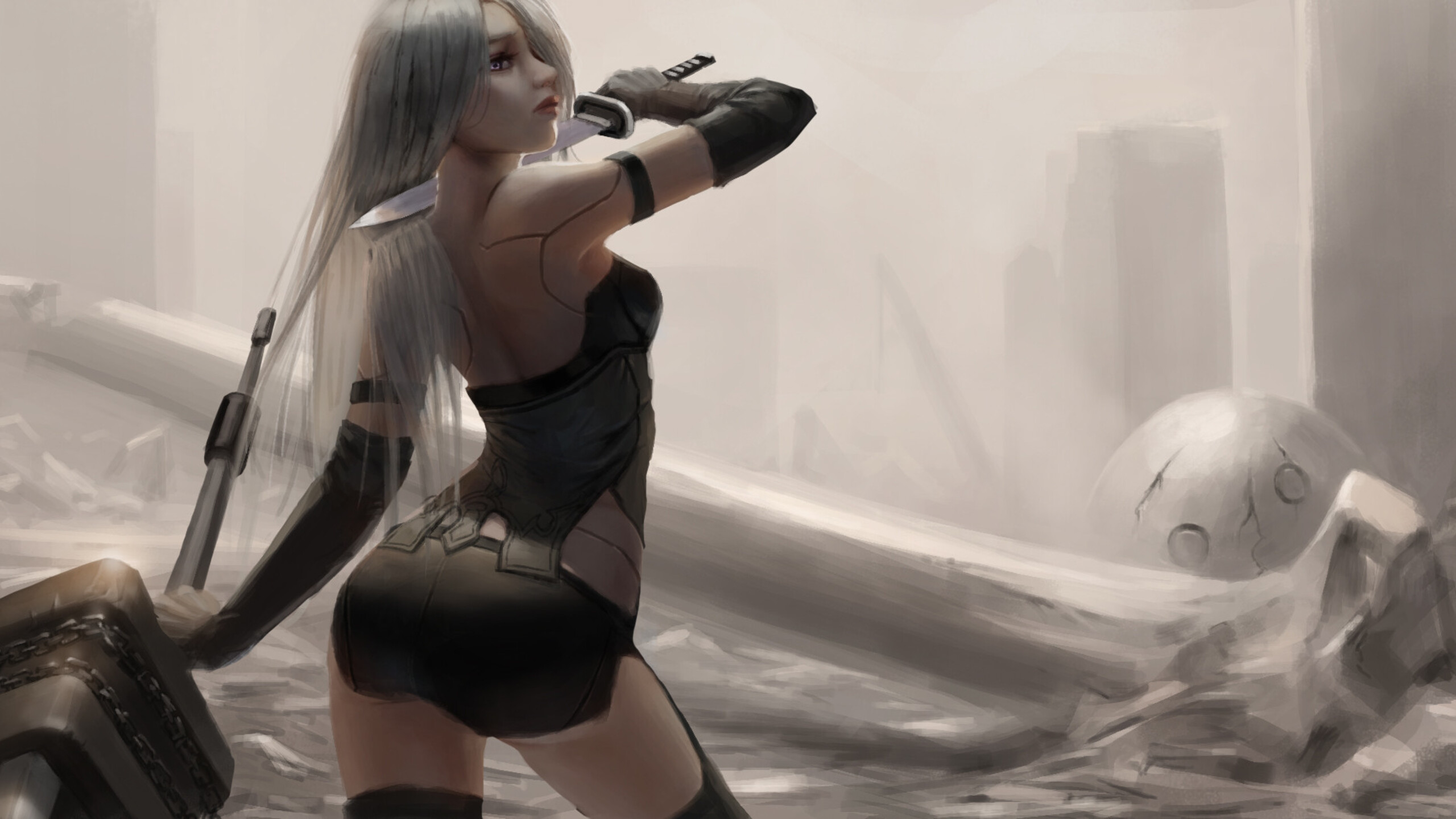 Nier Automata Fantasy Game Art Full Hd Wallpaper: 2560x1440 Nier Automata Fan Art 1440P Resolution HD 4k
