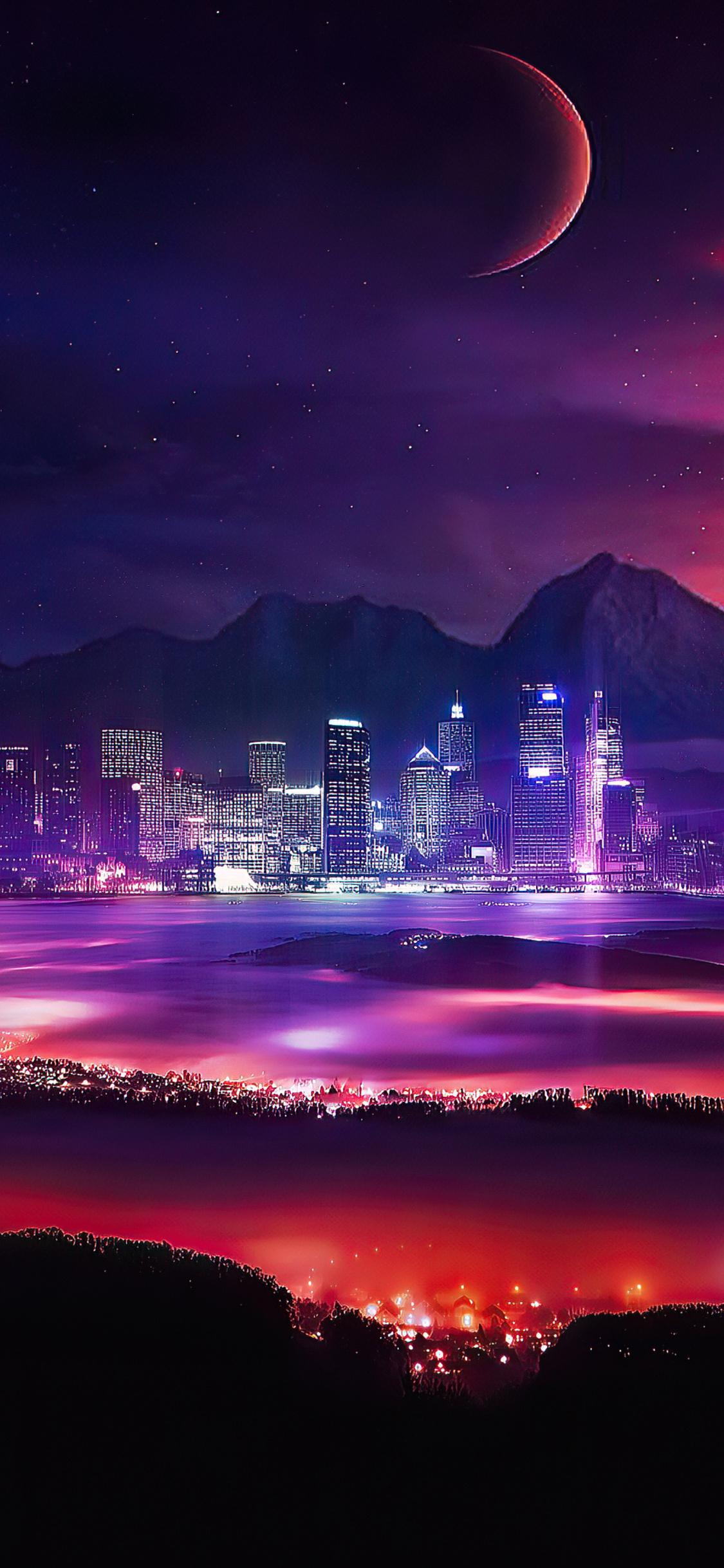 1125x2436 Night City Stars Planets Moon Manipulation ...