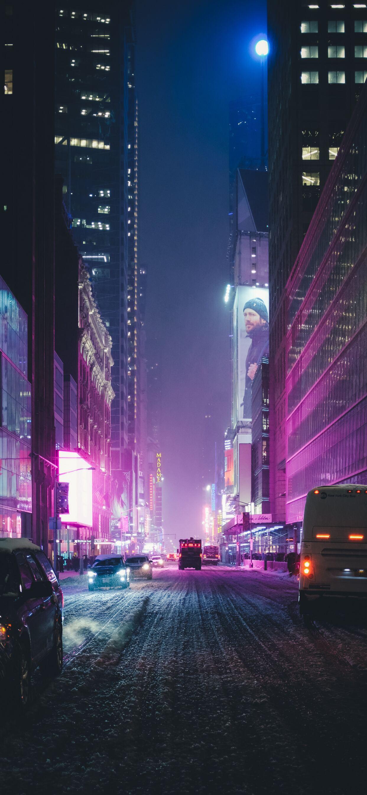 1242x2688 Night City Street Neon Lights 4k Iphone Xs Max Hd