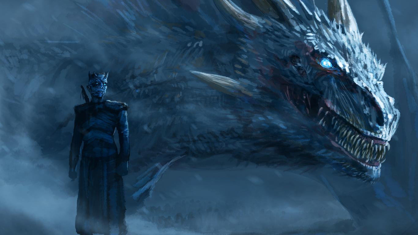 1366x768 night king blue eyes white dragon 1366x768 resolution hd 4k