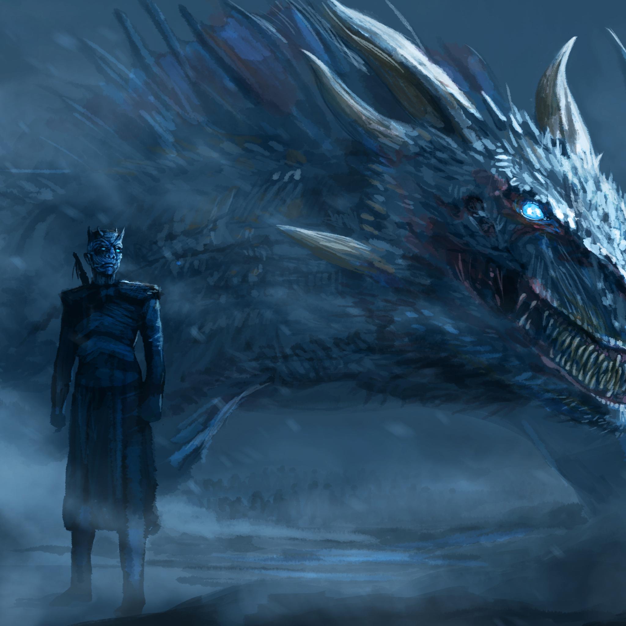 2048x2048 Night King Blue Eyes White Dragon Ipad Air Hd 4k