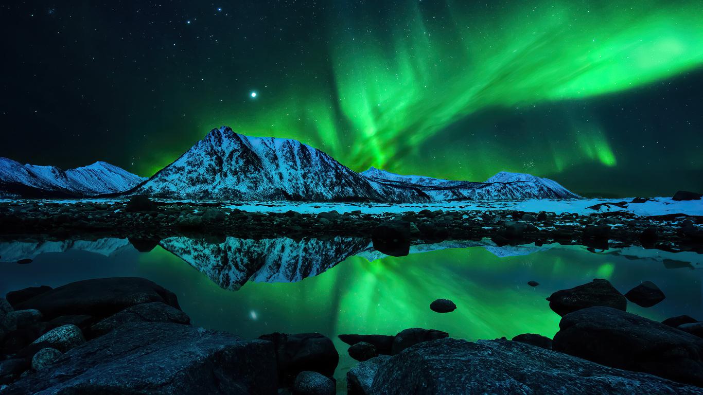 1366x768 Northern Lights Aurora Borealis 4k 1366x768 ...