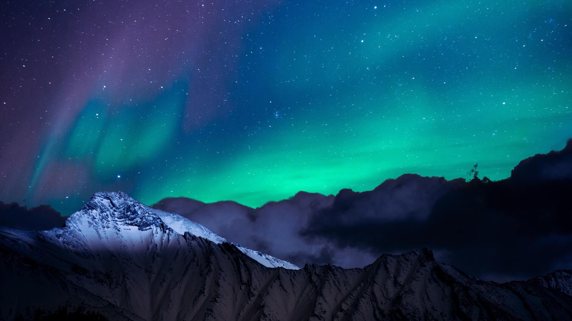 1920x1080 Northern Lights Night Sky Mountains Landscape 4k
