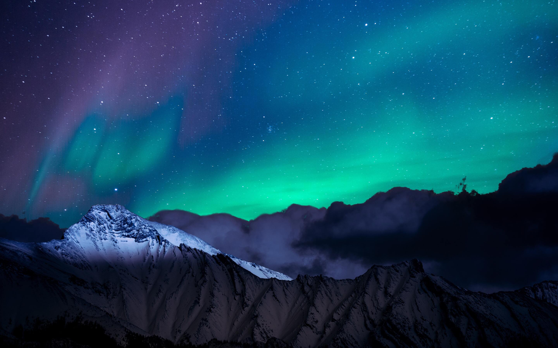 northern lights night sky mountains landscape 4k k8