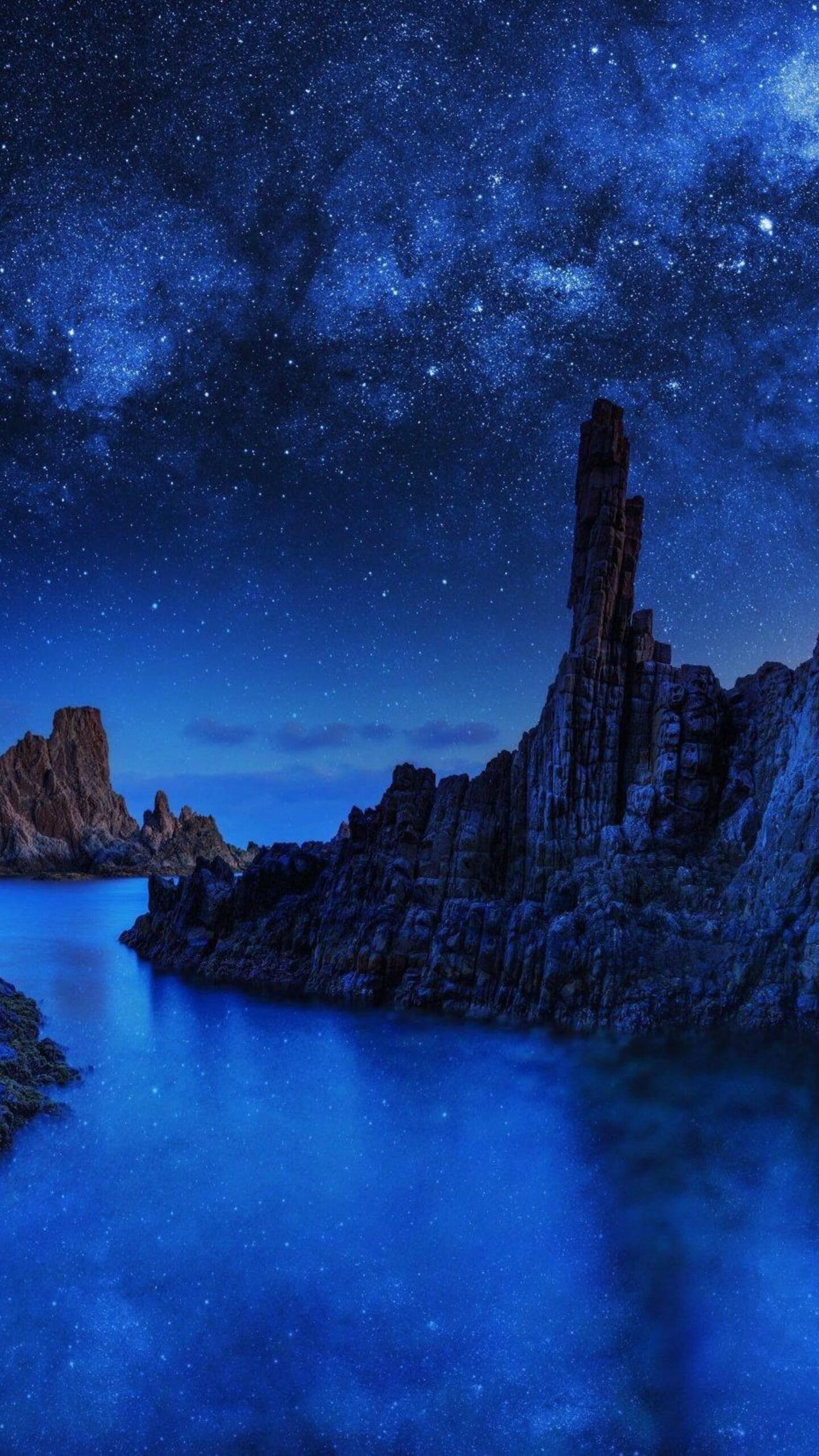 1440x2560 Ocean Rocks Blue Sky Samsung Galaxy S6,S7 ...