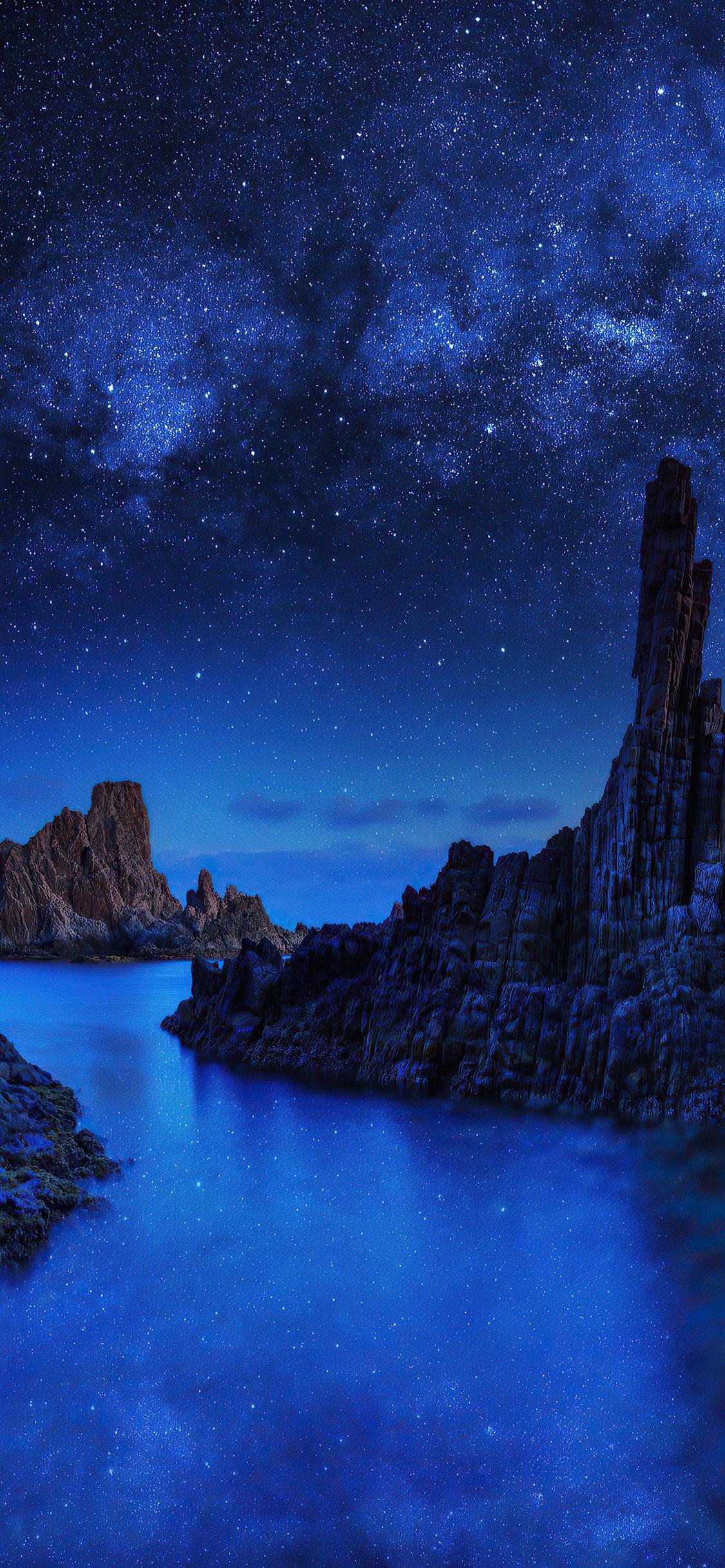 1125x2436 Ocean Rocks On Starry Night 4k Iphone XS,Iphone ...