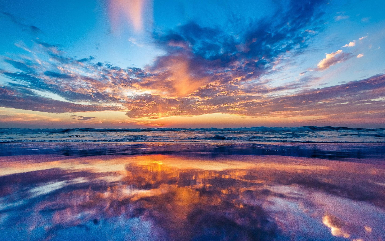 Retina Wallpaper Beach Sea Hd Desktop Wallpapers: 2880x1800 Ocean Sky Sunset Beach Macbook Pro Retina HD 4k