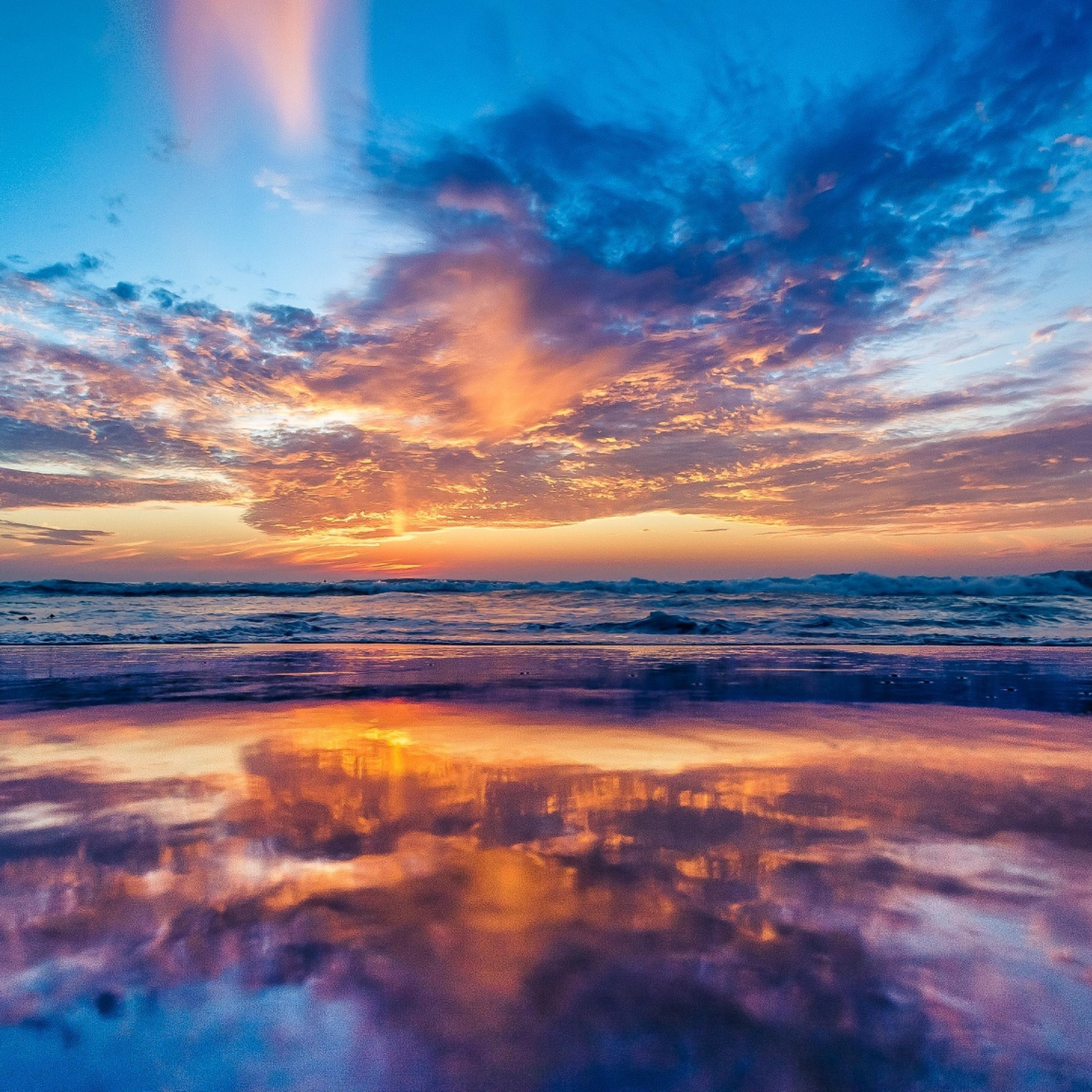 2932x2932 Ocean Sky Sunset Beach Ipad Pro Retina Display