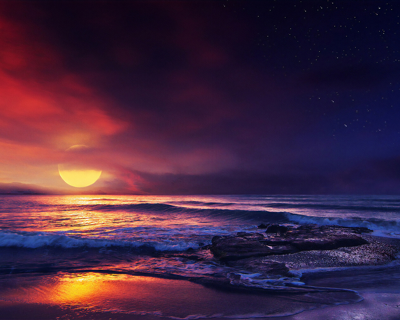 1280x1024 Ocean Sunset Illustration
