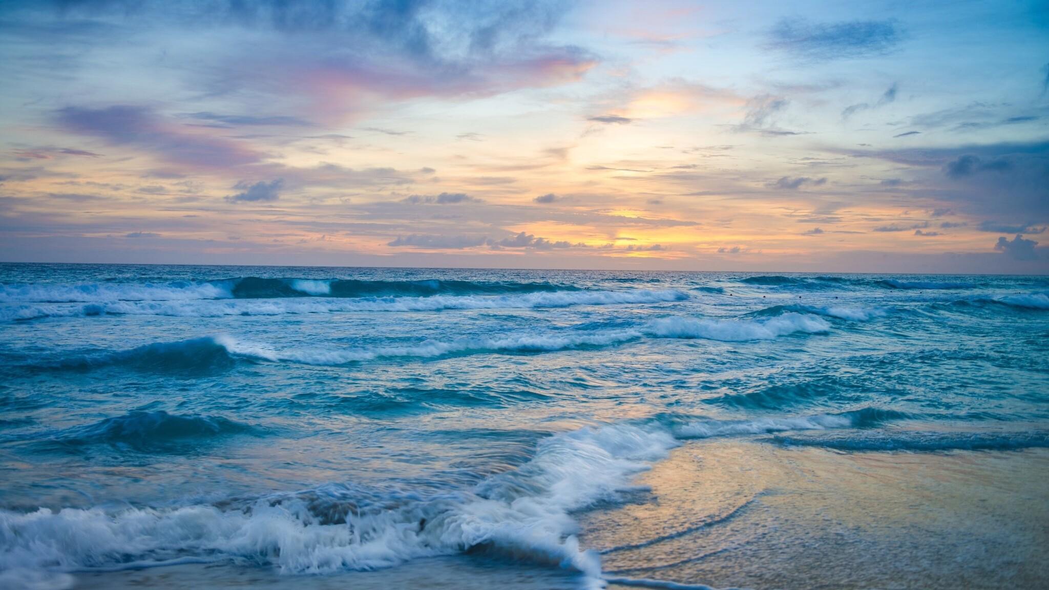 2048x1152 ocean waves at sunset 2048x1152 resolution hd 4k