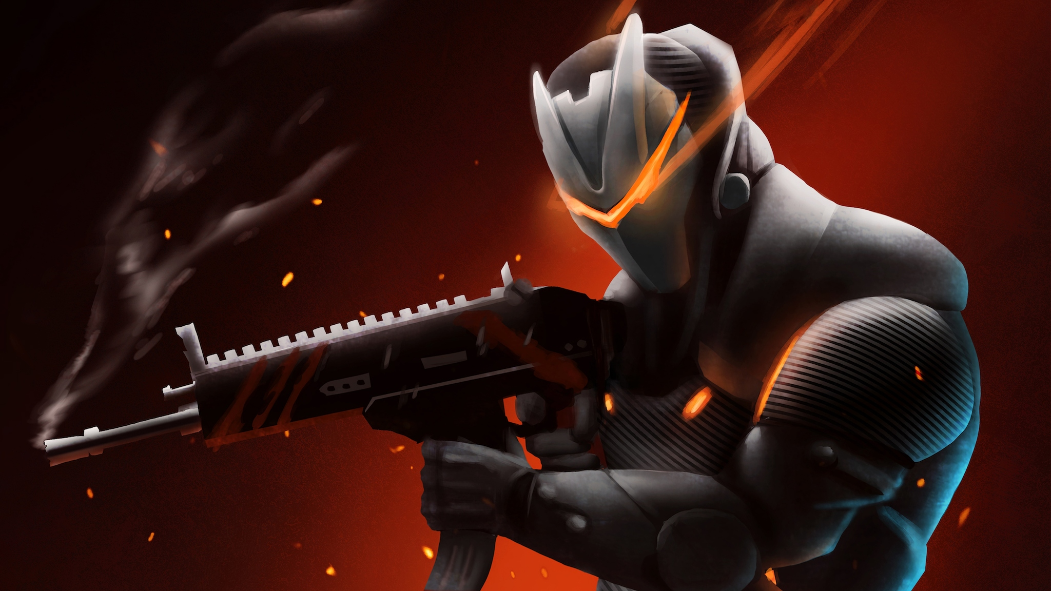2048x1152 Omega With Rifle Fortnite Battle Royale 2048x1152