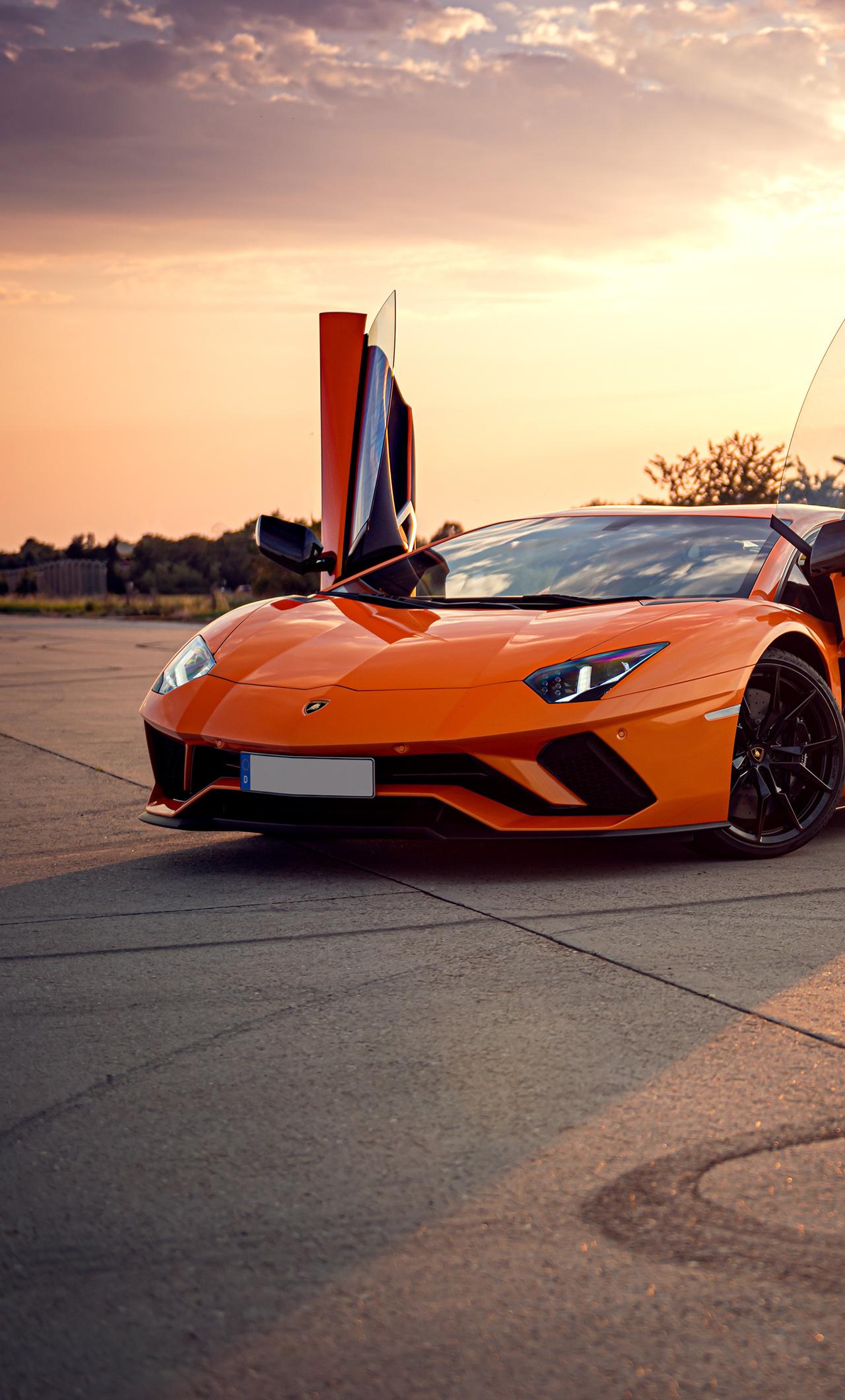 1280x2120 Orange Lamborghini Aventador 4k iPhone 6+ HD 4k ...