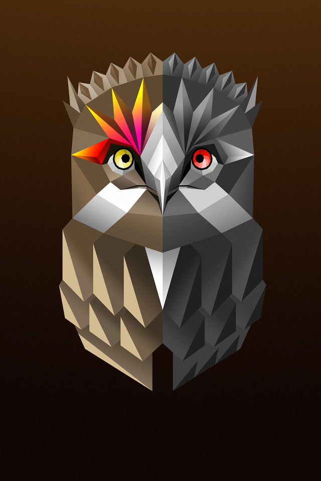 640x960 Owl Facets Colorful Digital Art 4k Iphone 4 Iphone
