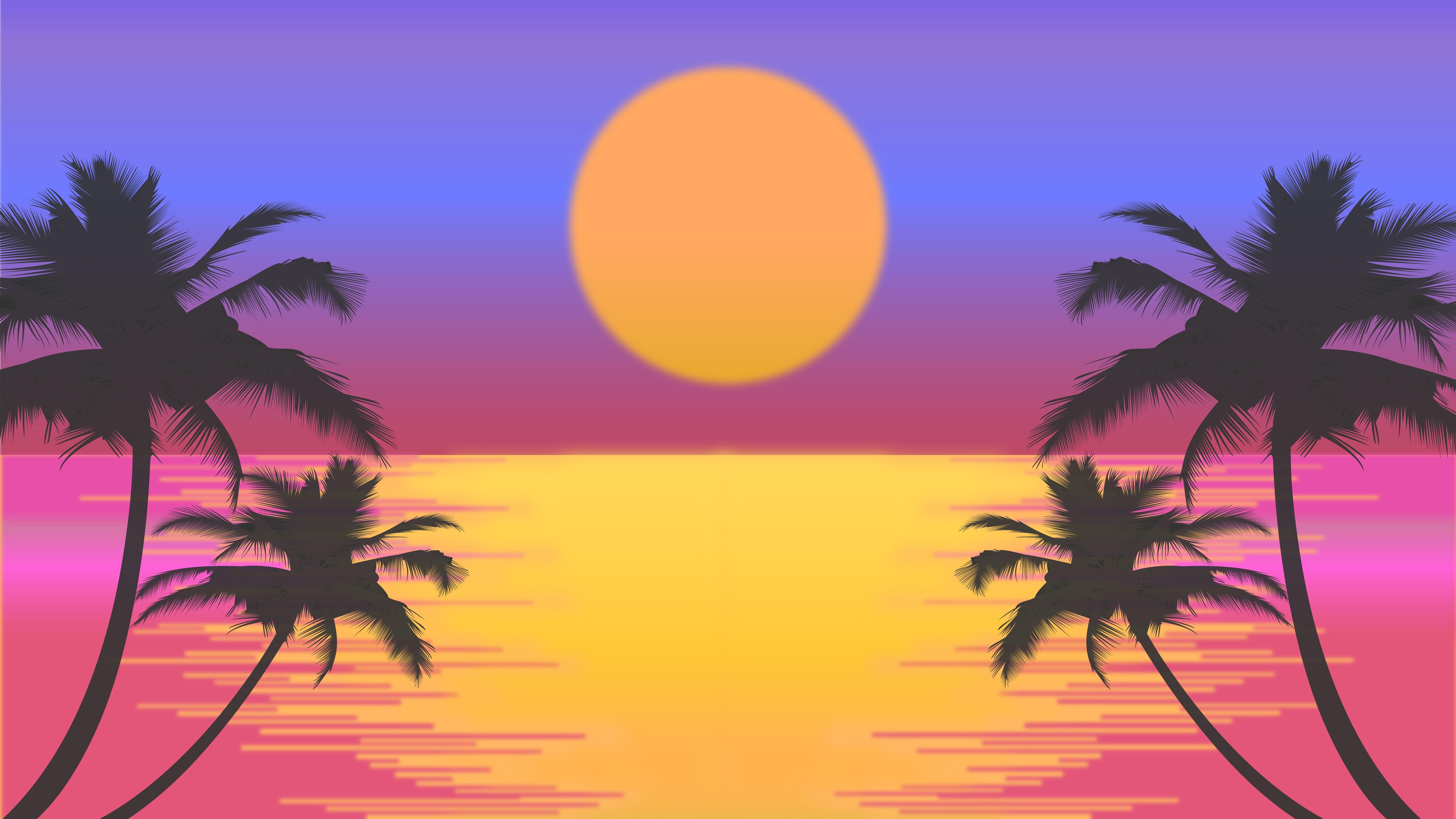 7680x4320 palm trees sun vector artwork 8k 8k hd 4k wallpapers