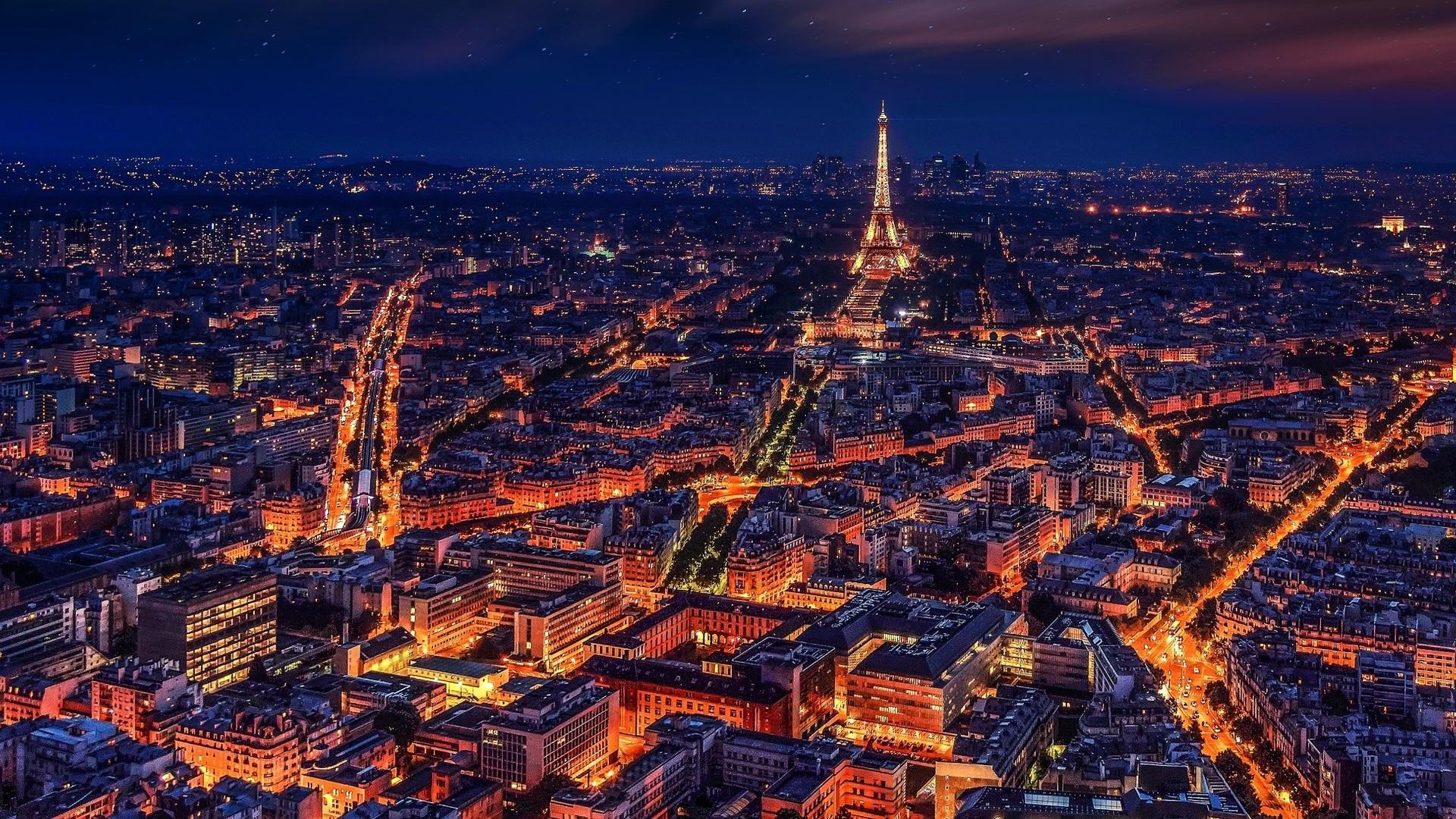 1920x1080 Paris France Eiffel Tower Night Laptop Full HD