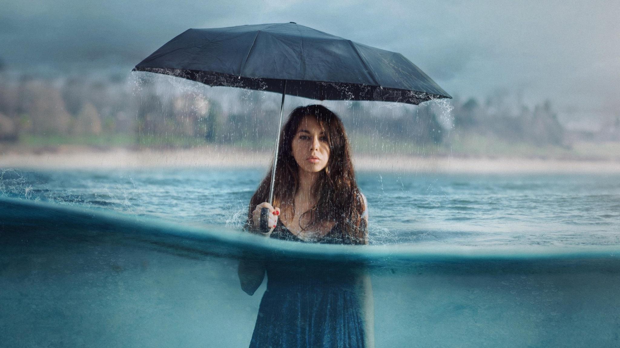 2048x1152 Photography Manipulation Umbrella Girl Women