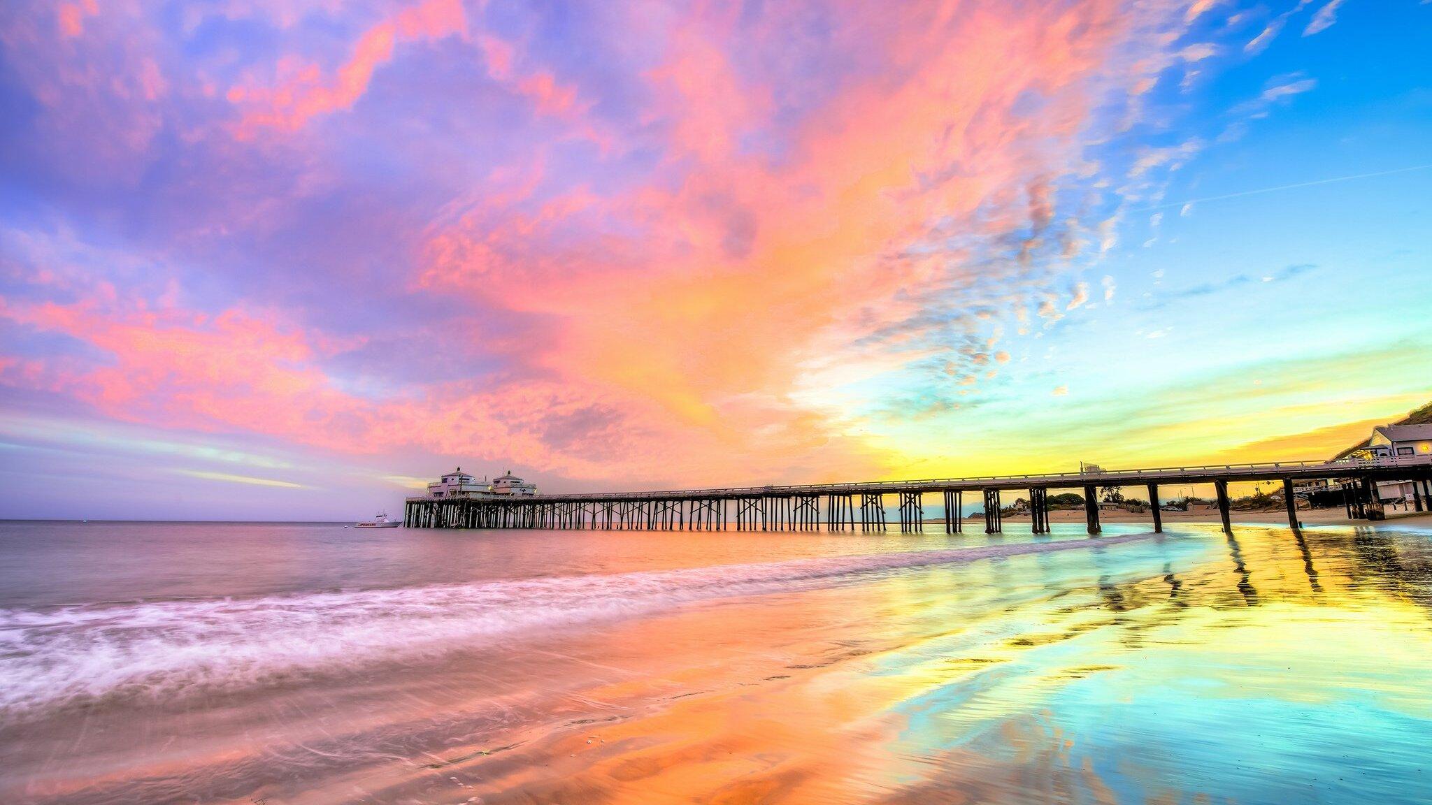 2048x1152 Pier Beach California 2048x1152 Resolution HD 4k