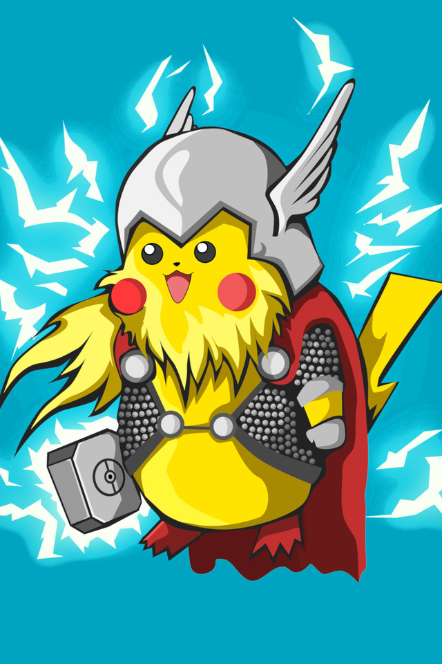 640x960 Pikachu Thor Minimalism 4k Iphone 4 Iphone 4s Hd 4k