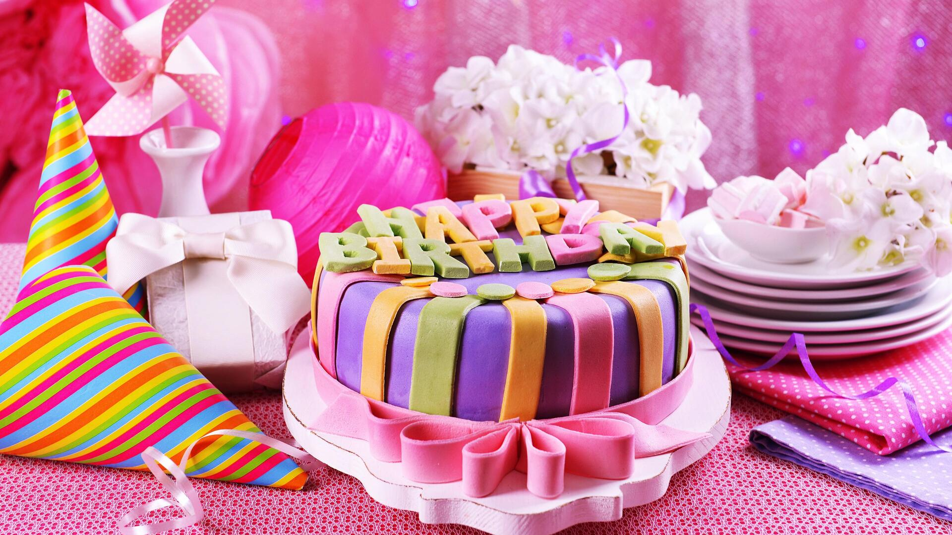 1920x1080 Pink Birthday Cake Laptop Full Hd 1080p Hd 4k