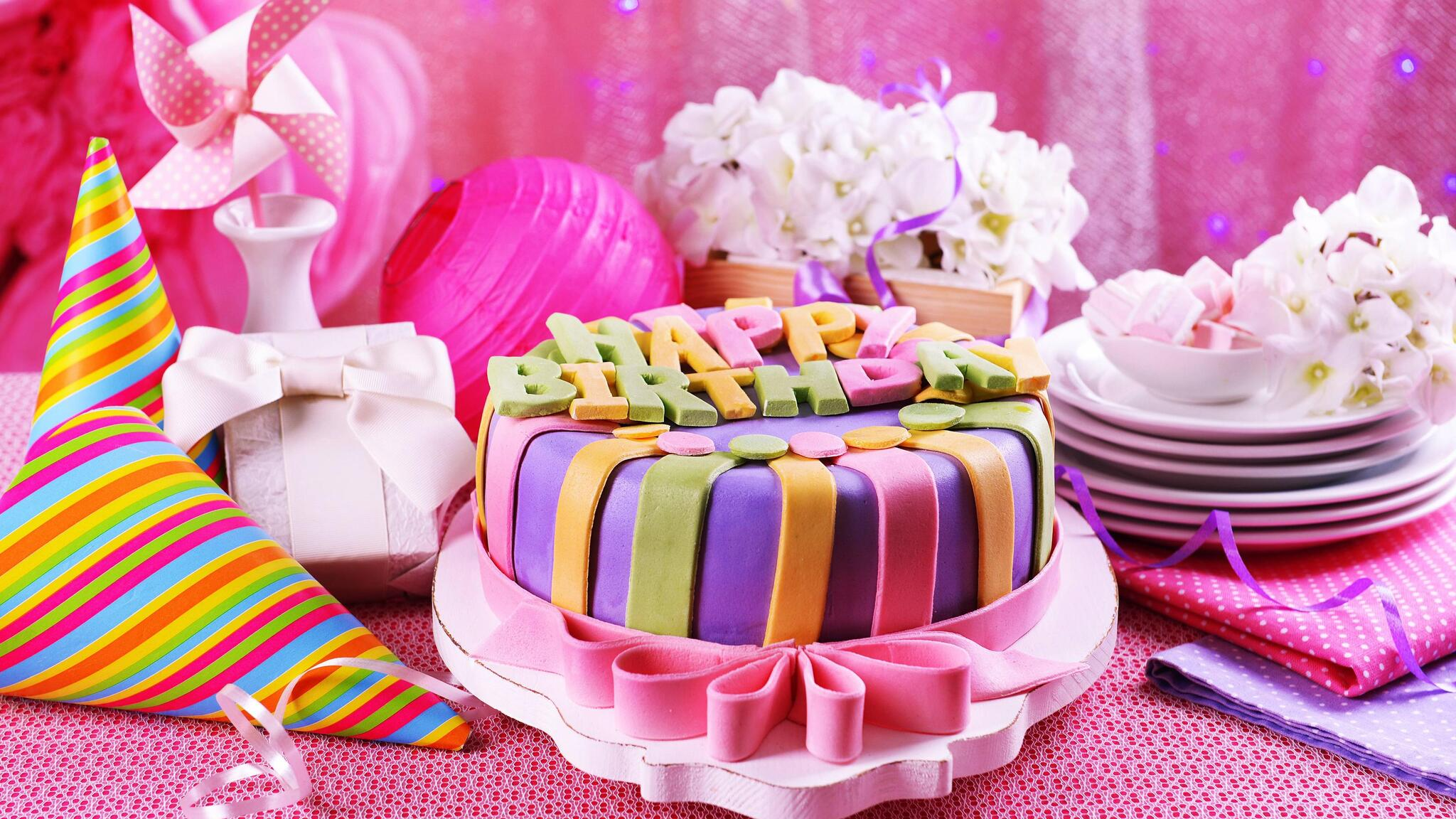 Cake Images Free Download Hd : 2048x1152 Pink Birthday Cake 2048x1152 Resolution HD 4k ...