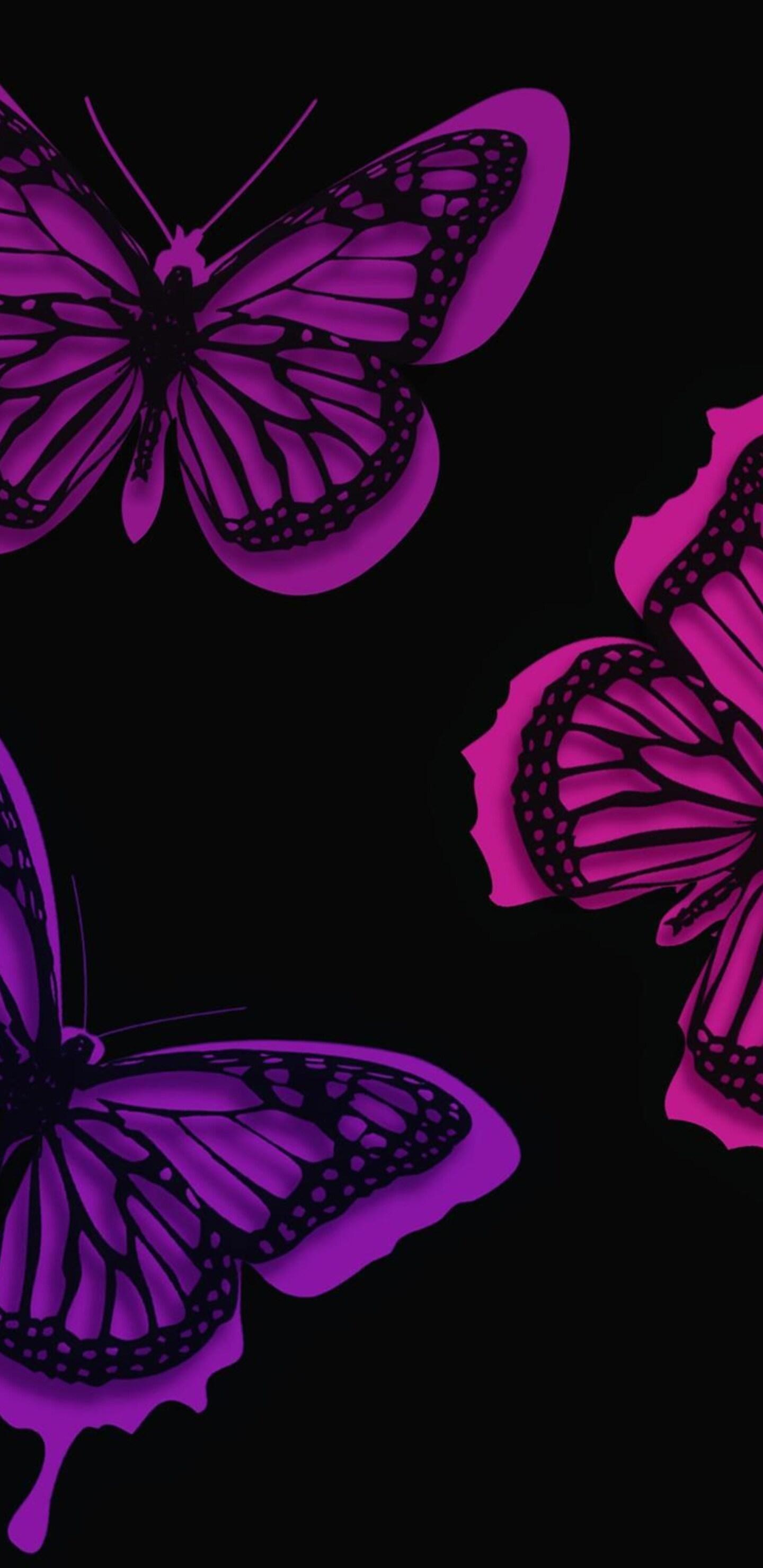 1440x2960 Pink Butterflies Artistic Samsung Galaxy Note 9 8 S9 S8