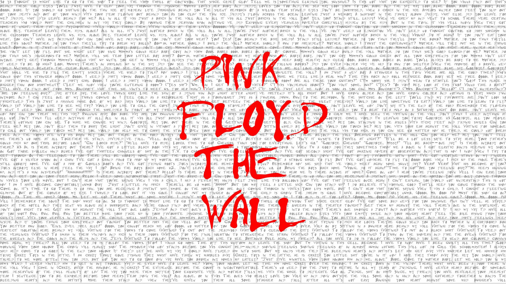 1920x1080 Pink Floyd The Wall Typography 4k Laptop Full Hd 1080p Hd