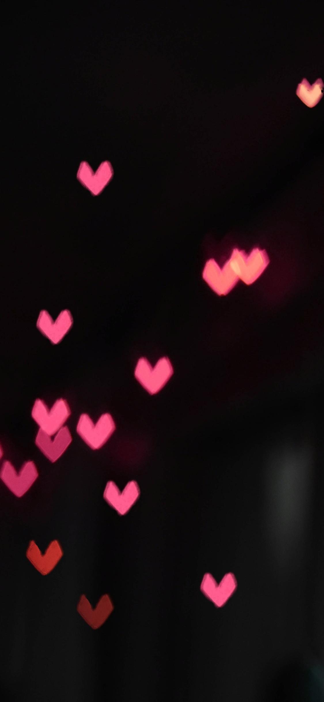 1125x2436 Pink Little Heart Bokeh Lights Iphone Xs Iphone 10