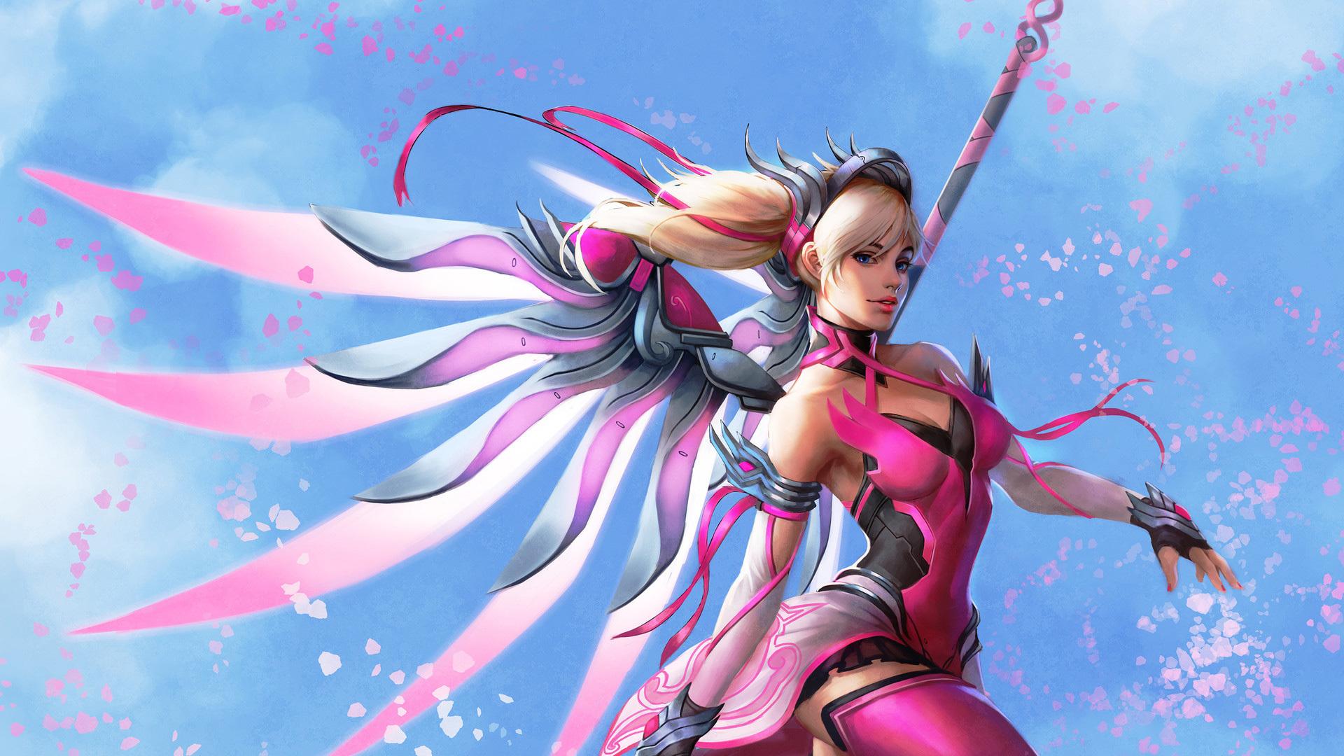 1920x1080 Pink Mercy Overwatch Wings Fantasy Digital Art ...