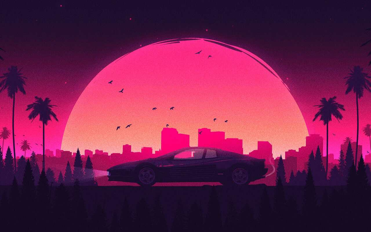 1280x800 Pink Retro City Lamborghini 720p Hd 4k Wallpapers Images Backgrounds Photos And Pictures