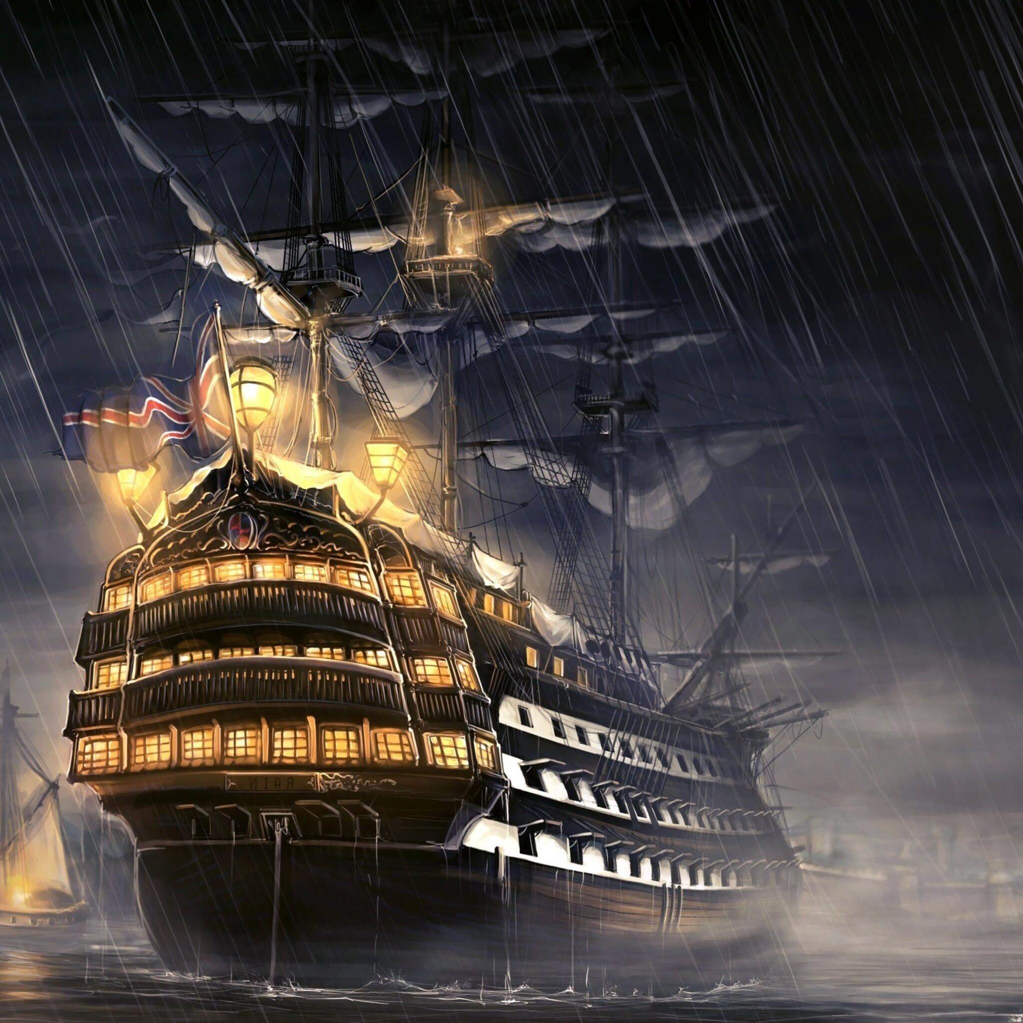 Pirates Of The Caribbean Wallpaper Hd: 2048x2048 Pirates Of The Caribbean Ship Artwork Ipad Air