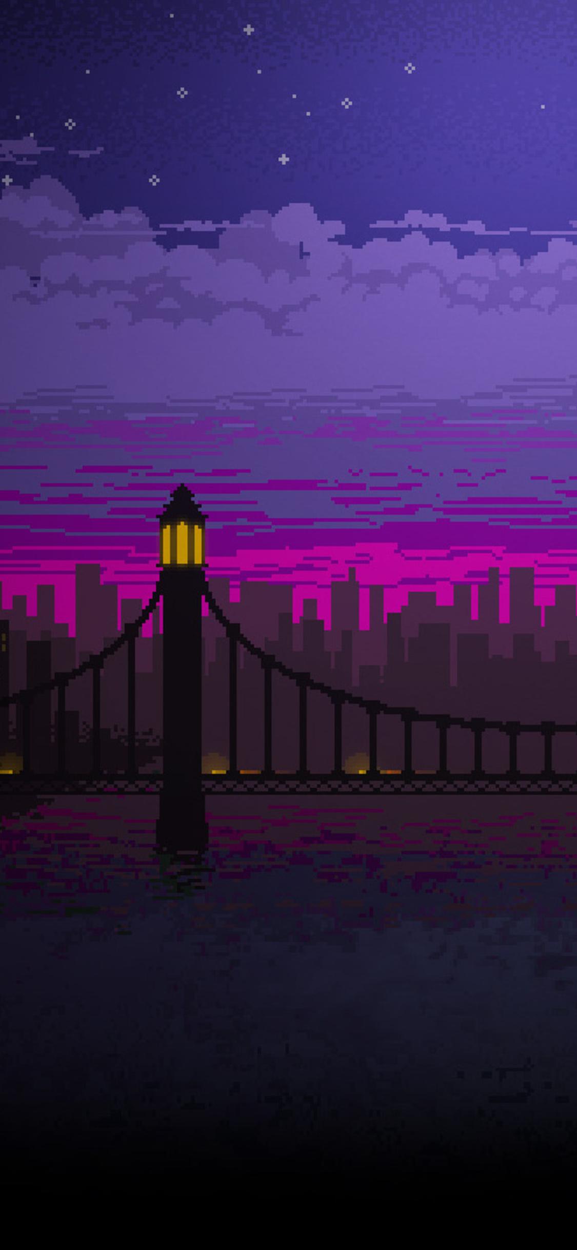 1125x2436 Pixel Art Bridge Night Iphone Xs Iphone 10 Iphone X Hd 4k