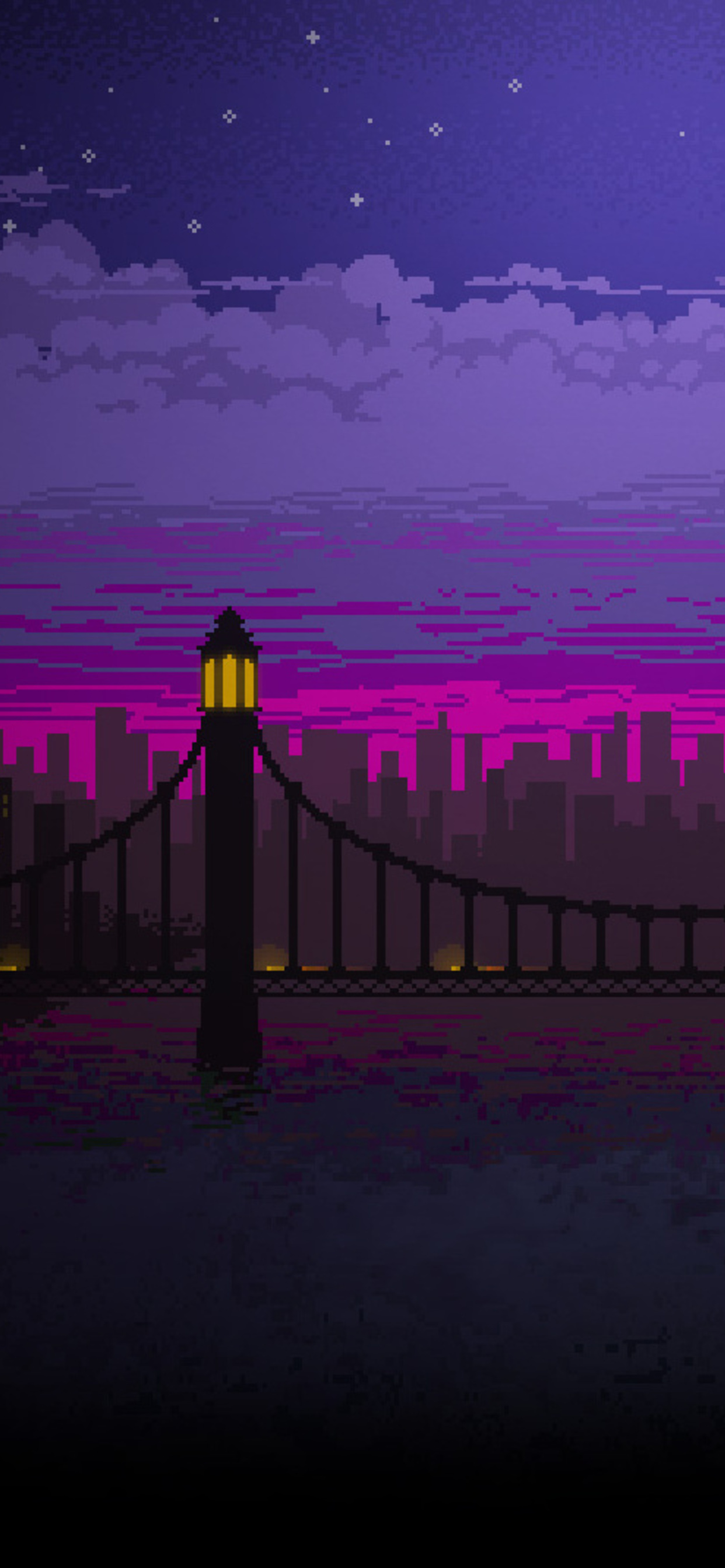 1242x2688 Pixel Art Bridge Night Iphone XS MAX HD 4k ...