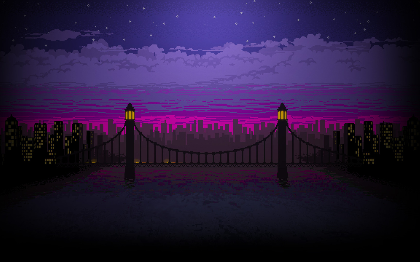 1440x900 Pixel Art Bridge Night 1440x900 Resolution Hd 4k Wallpapers