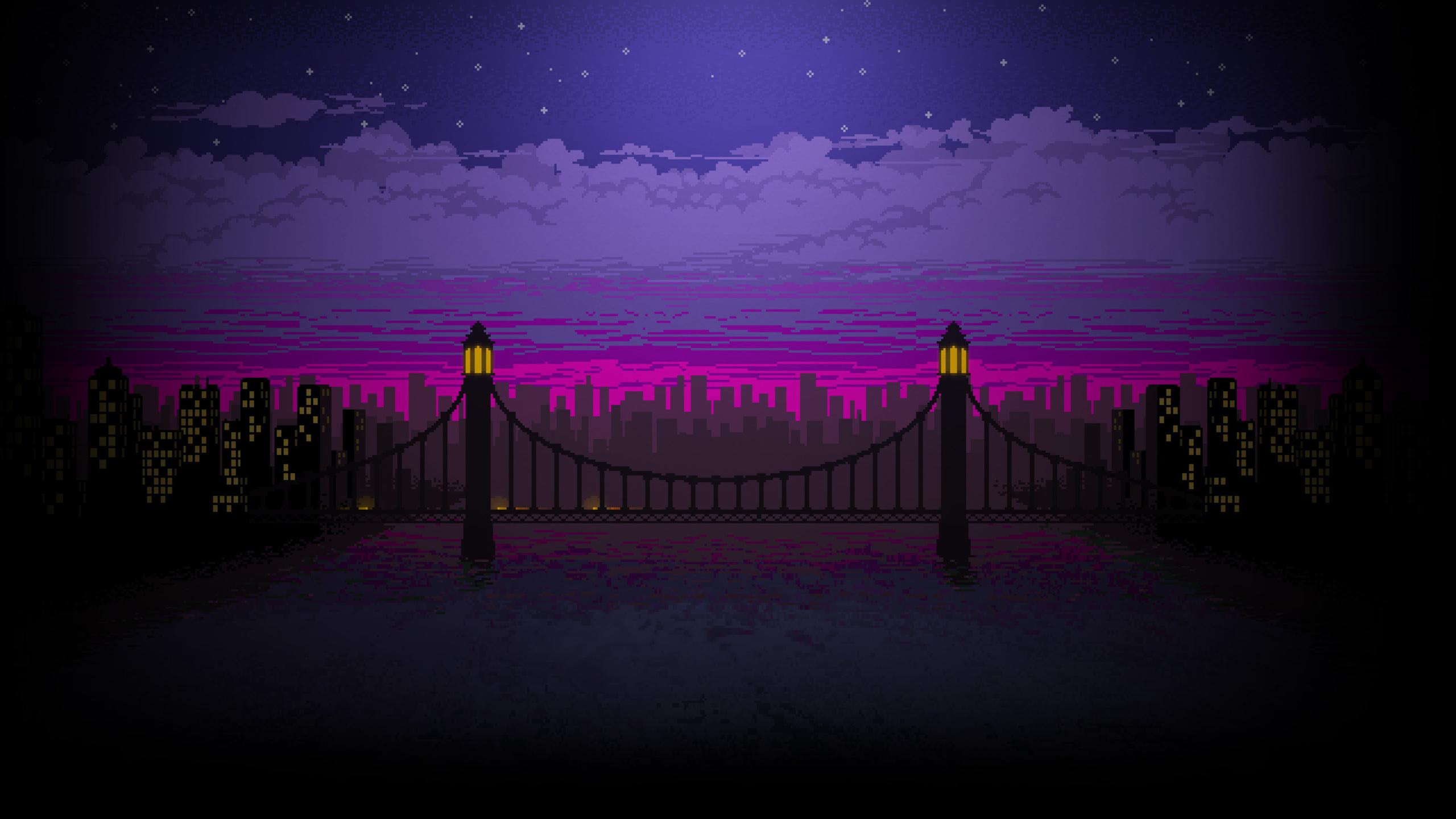 2560x1440 Pixel Art Bridge Night 1440P Resolution HD 4k