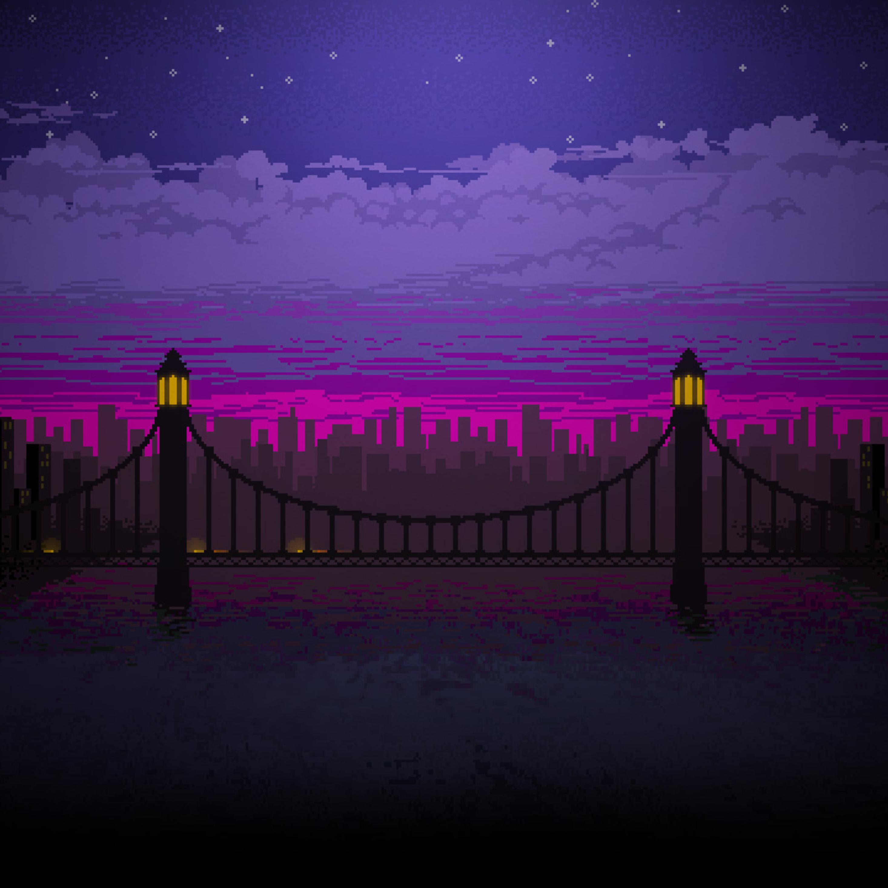 2932x2932 Pixel Art Bridge Night Ipad Pro Retina Display