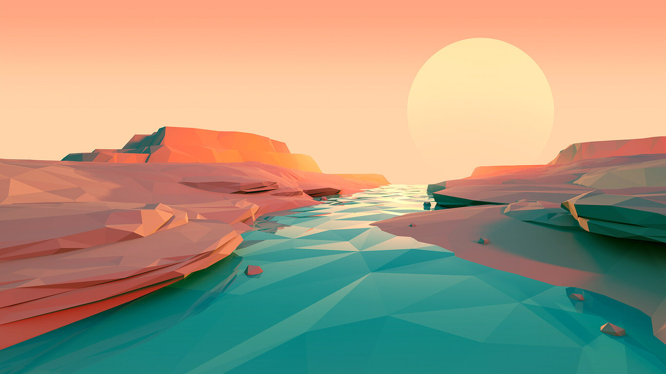 1366x768 Polygon Lake Sunset Minimalist 1366x768 ...