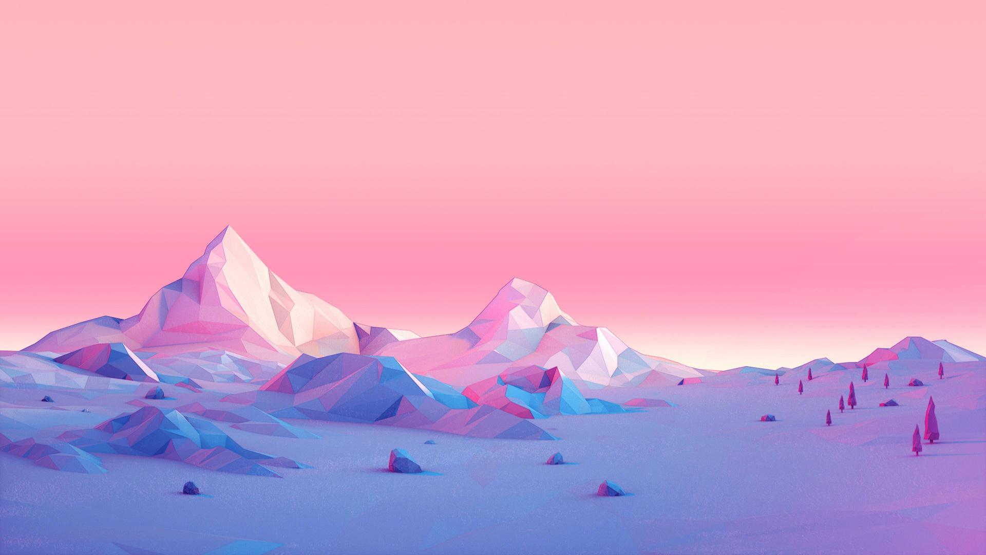 Minimalism Mountain Peak Full Hd Wallpaper: 1920x1080 Polygon Mountains Minimalist Laptop Full HD