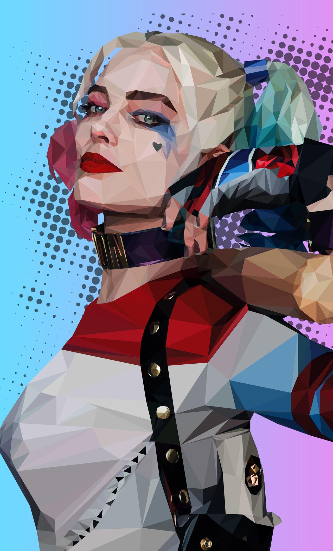 1280x2120 Polygonal Harley Quinn iPhone 6+ HD 4k ...
