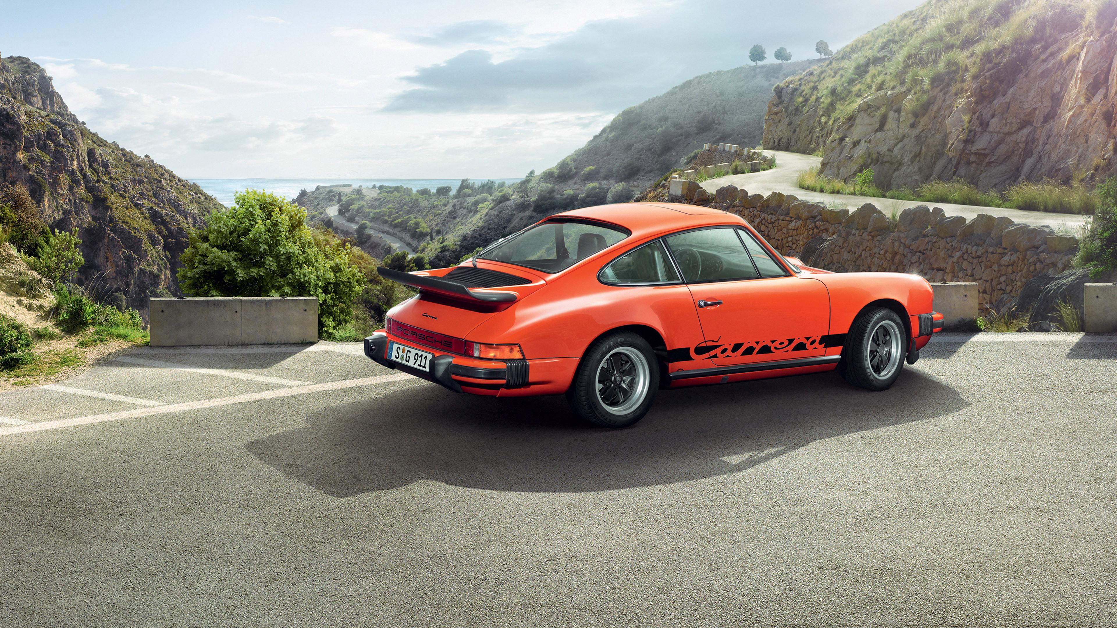 Оранжевый автомобиль porsche carrera  № 836967 бесплатно