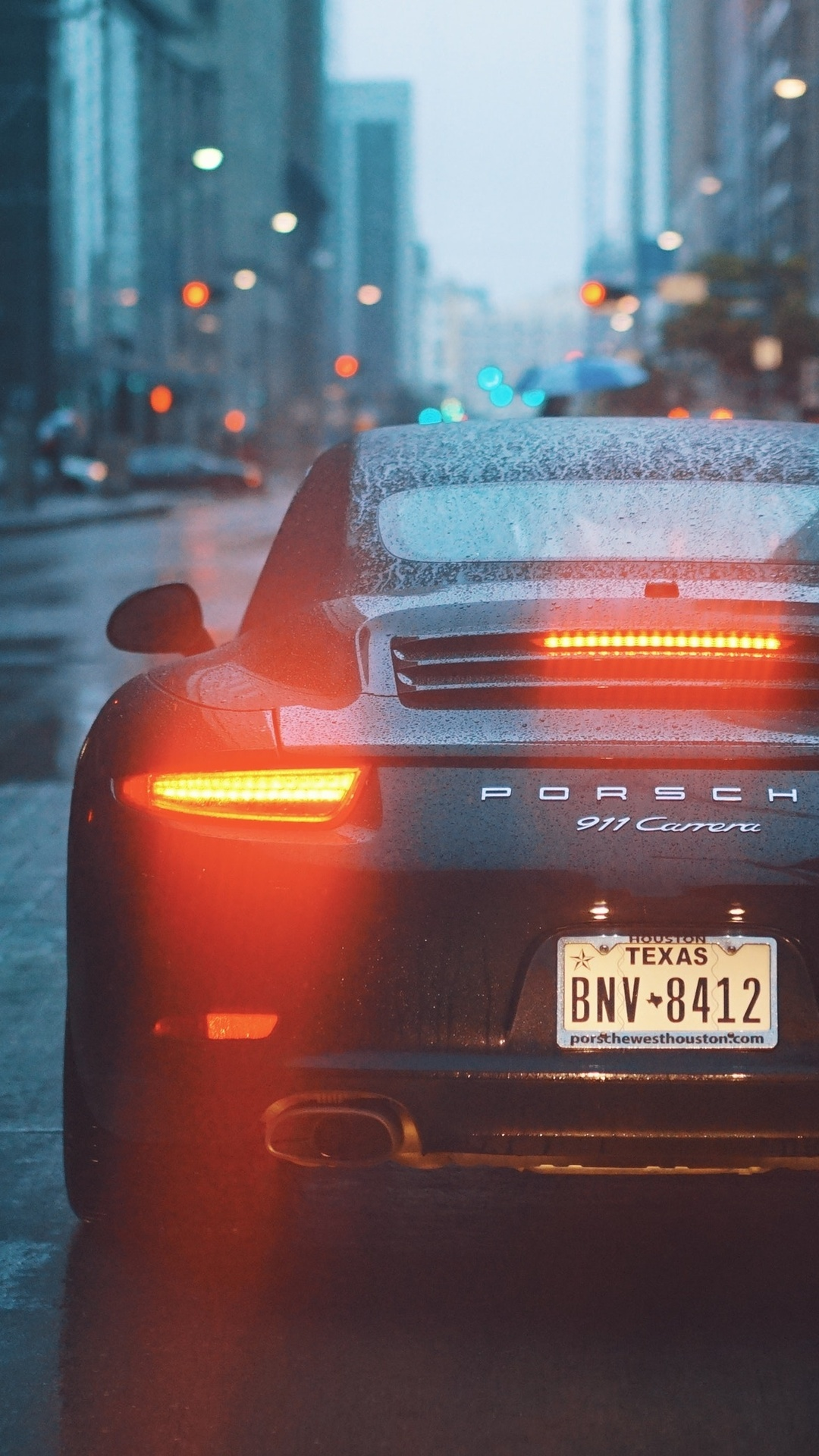 1080x1920 Porsche 911 Carrera Talilights Bokeh Rain City Iphone 7