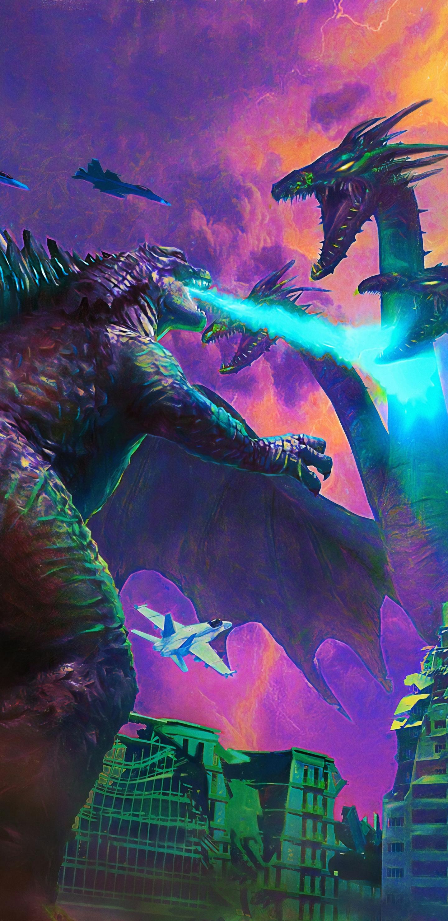 1440x2960 Poster Art Godzilla King Of The Monsters Samsung Galaxy