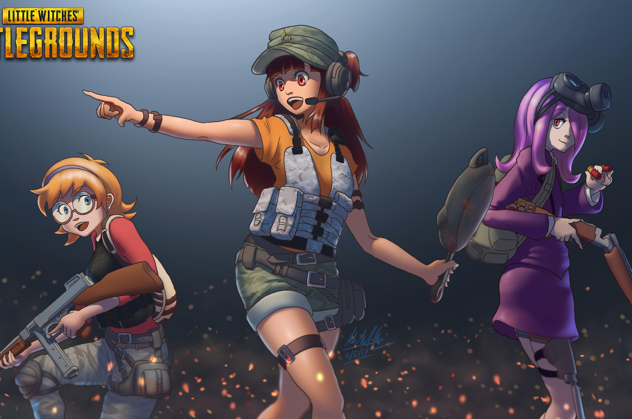 2560x1700 Pubg Anime Crossover Art Chromebook Pixel HD 4k Wallpapers